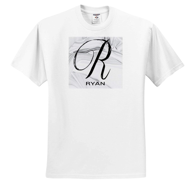 Adult T-Shirt XL ts/_310085 Ryan 3dRose BrooklynMeme Monograms White Marble Monogram R