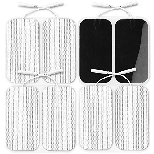 AUVON TENS Unit Pads 2X4 8-Pack, 2nd Gen Latex-Free Rectangular Replacement Pads Electrode Patches with Upgraded Self-Stick Performance for Electrotherapy