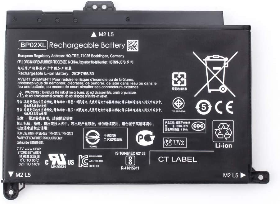 BP02XL 7.7V 41Wh Battery for HP Pavilion PC 15 15-AU000 15-AU010WM 15-AU018WM 15-AU020WM 15-AU062NR 15-AU123CL P//N:BP02041XL 849569-421 849569-543 849909-850 TPN-Q172 TPN-Q175
