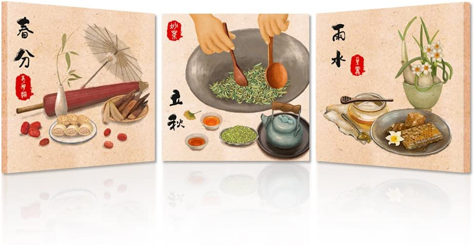 Kreative Arts Kitchen Pictures Wall Decor Canvas Art Prints Health Food Honey and Chinese Tea Posters Printed On Canvas for Walls Decoration Canvas Set of 3 Ready to Hang (16x16inchx3pcs)