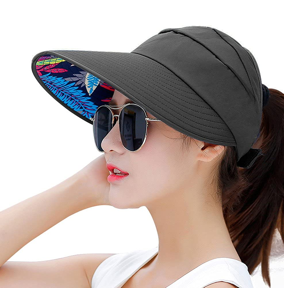 HINDAWI Sun Hat Wide Brim Sun Hats for Women UPF UV Protection Visor Womens  Floppy Beach Foldable Packable Cap Black at Amazon Women s Clothing store  2484dcfbdfe