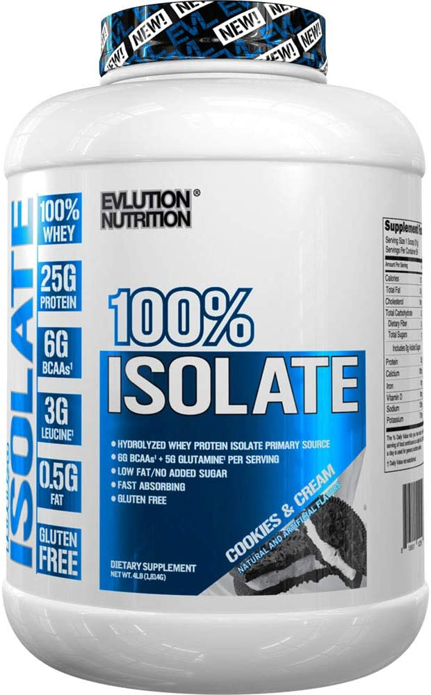 Evlution Nutrition 100 Isolate, Hydrolyzed Whey Isolate Protein Powder, 25 G of Fast Absorbing Protein, No Sugar Added, Low-Carb, Gluten-Free Cookies Cream, 4 LB