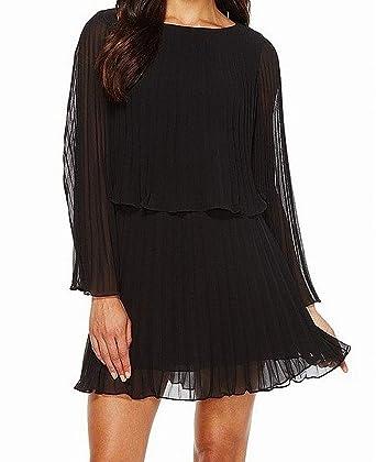 ad5f825c6 Laundry by Shelli Segal Women's Knife Pleat Chiffon Cocktail Dress Black 0