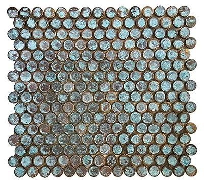 Copper Bath & Kitchen Backsplash, Fireplace Surround, Wall Decor Tile - Eden Mosaic Tile Verdigris Antique Patina Finish Copper Mosaic Tile
