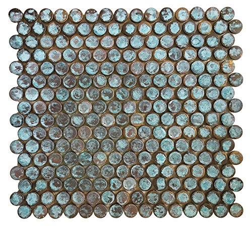 Copper Bath & Kitchen Backsplash, Fireplace Surround, Wall Decor Tile - Eden Mosaic Tile Antique Rust Patina Finish Copper Mosaic Tile by Eden Mosaic Tile