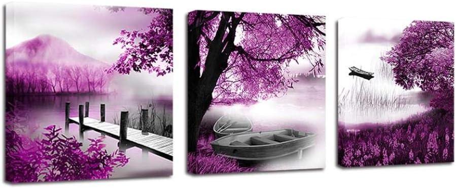 GZHMW Cuadros Decoracion Salon Modernos - Velero De Montaña Morado - Lienzo Decorativo para Pared, Impresión de Fotos Cocina Dormitorios Grandes Enmarcados - 40x40cmx3Pcs