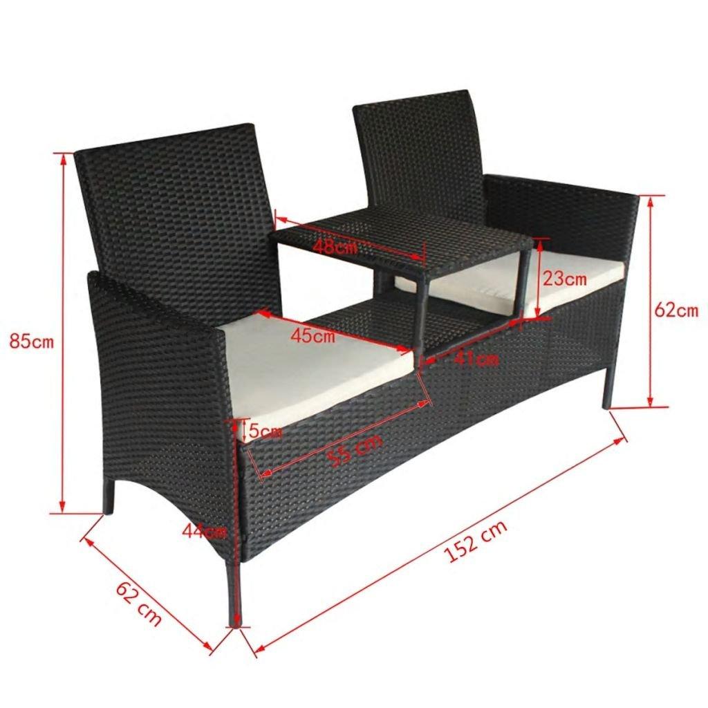 Panchina a 2 Posti con Tavolino da t/è in Polirattan Nera Panchina da Giardino Tidyard