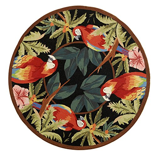 Wool Tropical Floral Area Rug - Safavieh Chelsea Collection HK296A Hand-Hooked Black Premium Wool Round Area Rug (5'6