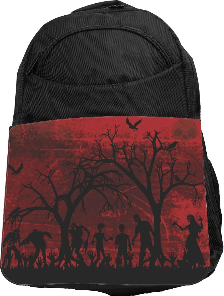 delicate Rikki Knight UKBK Silhouette Zombies on Skull Grunge Background Tech BackPack - Padded for Laptops & Tablets Ideal for School or College Bag BackPack