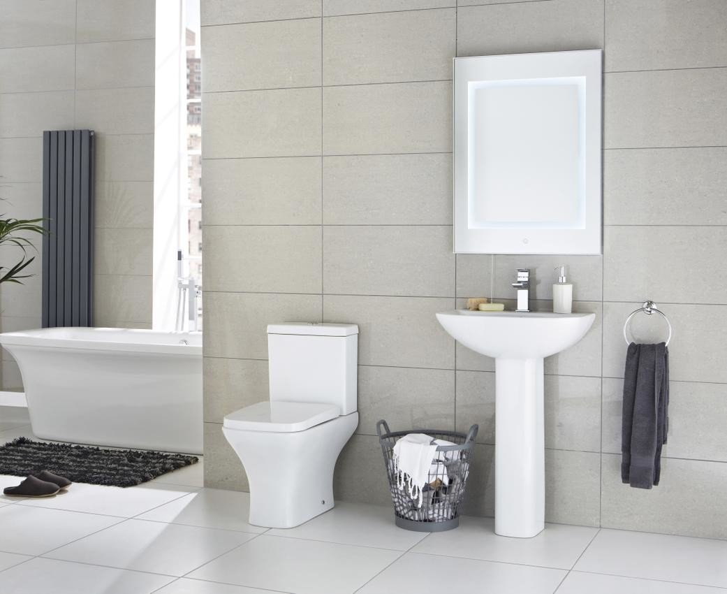 NCG102 - Carmela 550mm Basin / NCG103 - Carmela Full Pedestal Pebble Grey