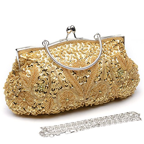 Soft Floral Wedding Bags Women's Handbag Tote Anik Clutch Party Luxury Gold Sunny Sequin Evening Bead Bag Shinny xRYRtnZg
