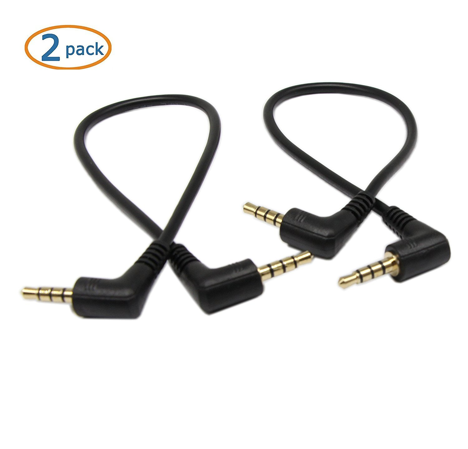 2-PACK 4-P,9inch 3.5mm TRRS Cable,SinLoon iPad or Smartphones,Tablets,Players Microphone Gold Plated 90 Degree Right /& Left Angled 3.5mm Stereo 4-Pole male to male Auxiliary Audio Cable for iPhone