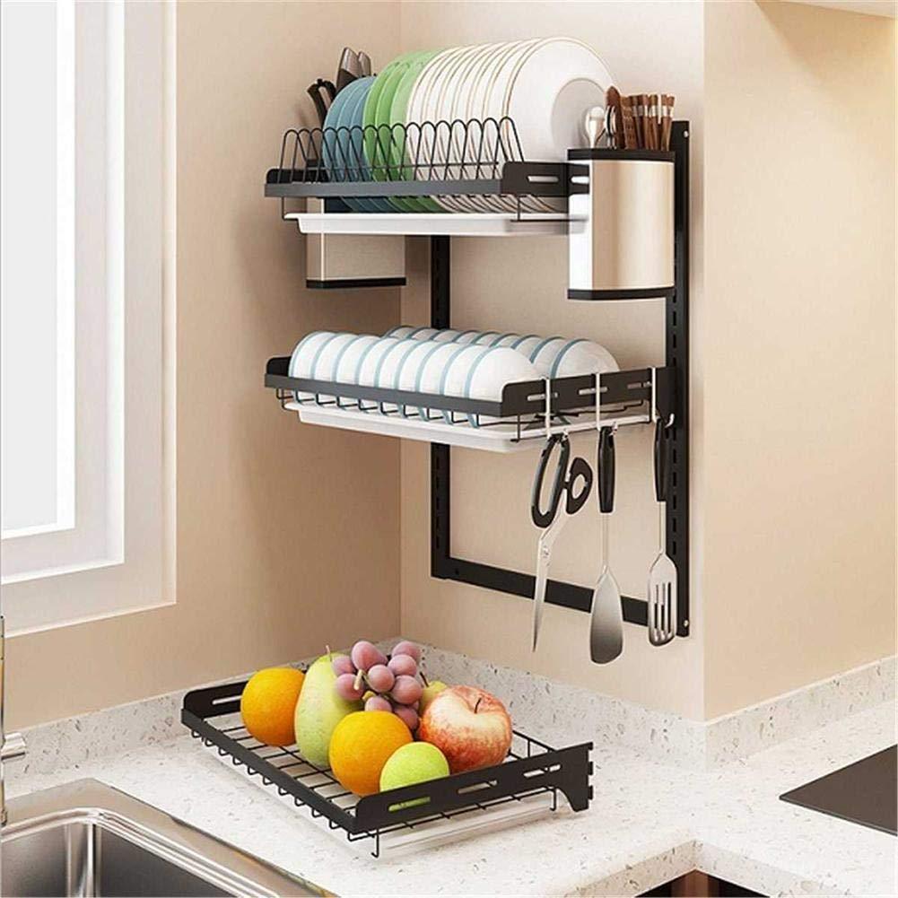 Adminitto88 Mensola da Cucina in Acciaio Inossidabile Scolapiatti Inox Scolapiatti per Il Montaggio A Parete in Cucina Mensola Mini Cucina Adatto per La Cucina