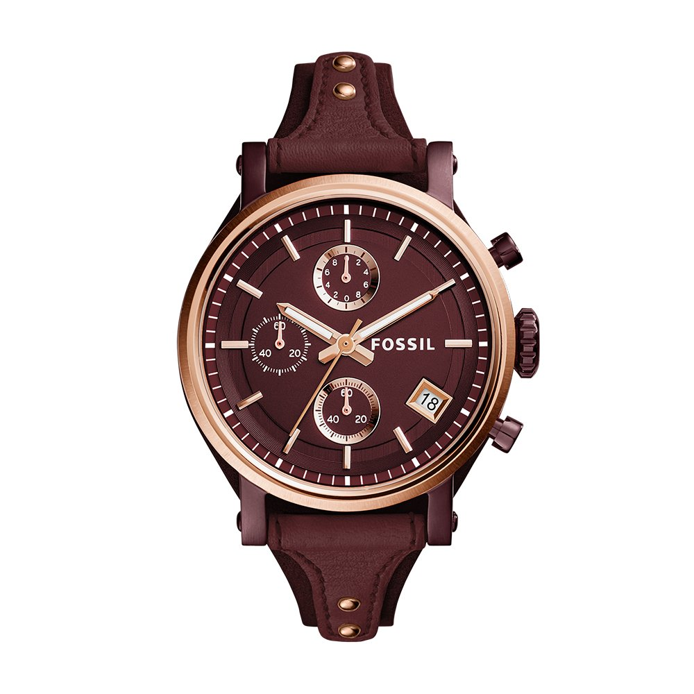 Fossil Women's ES4114 Original Boyfriend Sport Chronograph Wine Leather Watch by Fossil