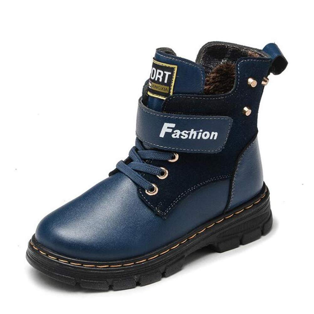 Feidaeu Children's Martin Boots Fashion Flat Leather Leather Anti-Skid Zipper Winter Shoes
