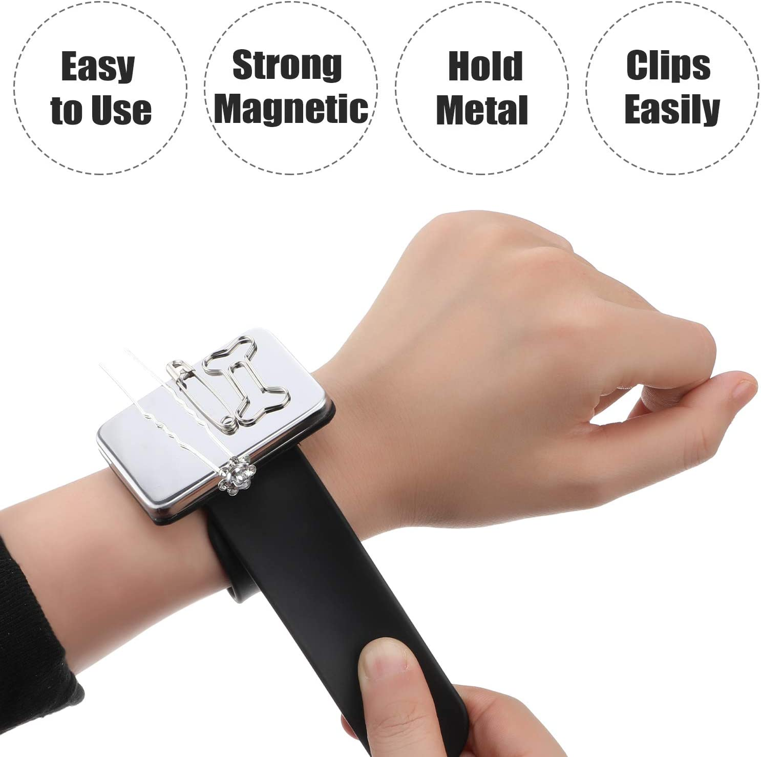 3 Pack Magnetic Wrist Sewing Pincushion Silicone Wrist Strap Bracelet (No pins) Pin Cushion Holder for Hair Clips Sewing