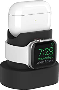 Compatible for Apple Watch Charger Stand 38mm 40mm 42mm 44mm iWatch Series 6 SE 5 4 3 2 1 Apple Watch Charging Stand Holder Airpods/AirPods Pro Charger Dock Accessory(Black,Cable NOT Included)