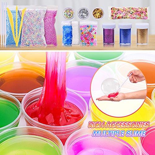 MOOHAM DIY Slime Kit Supplies - Clear Crystal Slime Making Kit for Girls, Floam Slime for Kids, Slime Foam Beads, Glitter , Fruit Slices and Fishbowl Beads Included by M MOOHAM (Image #1)