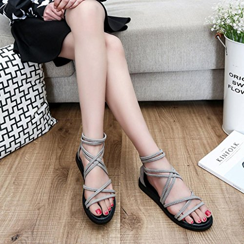 Transer® Ladies Leisure Flat Sandals- Women Summer Roman Sandals Comfy Shoes Casual Gray mVcvEppFg