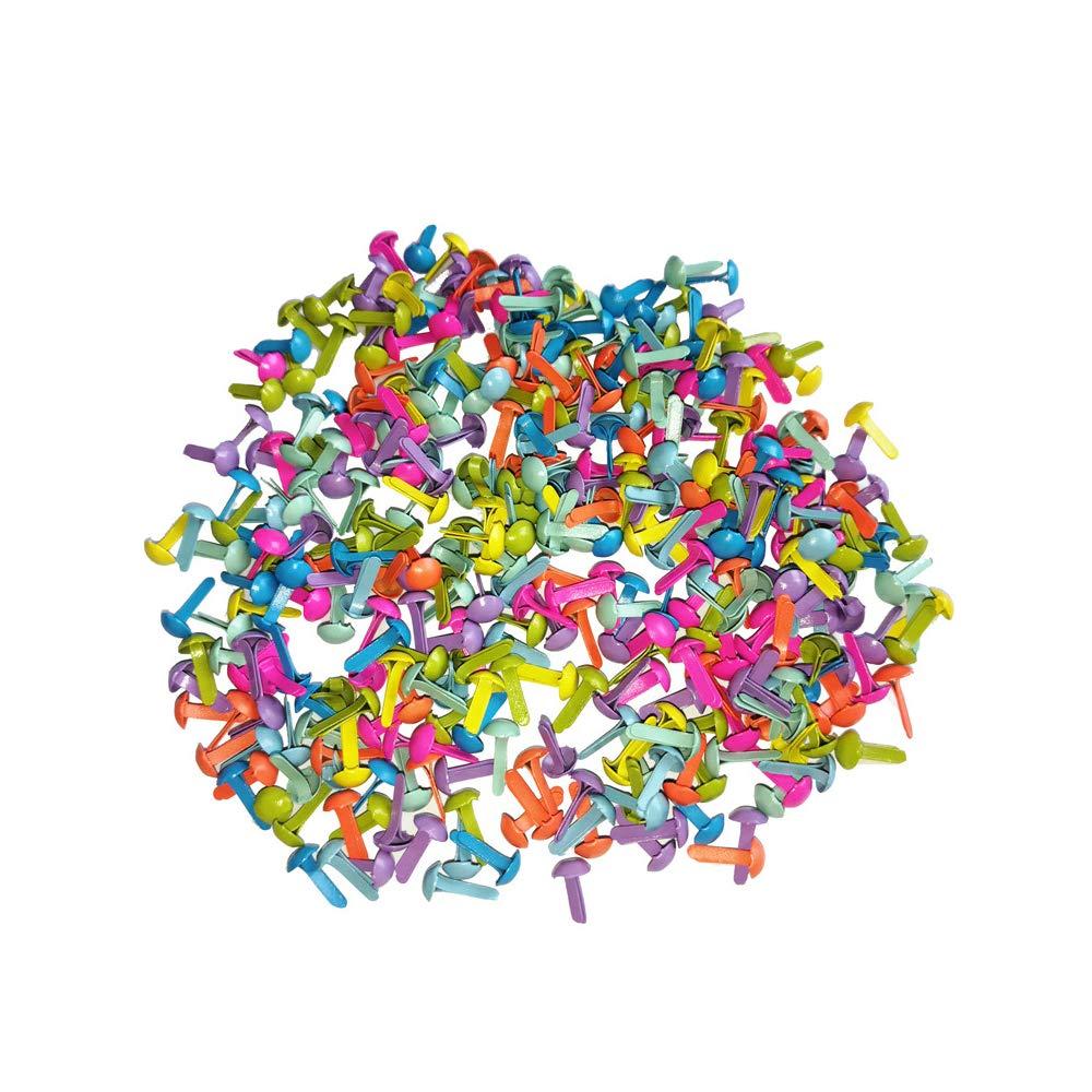 Xeminor 200pcs Mini Brads, Multicolor Mix Metal Round Brads for Paper Craft Stamping Scrapbooking DIY Tool by Xeminor (Image #3)