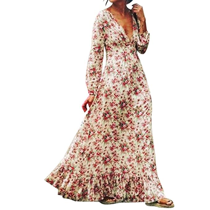 89d0c3fab Sexy Party Long Dresses,Women Fashion Floral Deep V Neck Slim Waist Long  Sleeve Boho Maxi Dress: Clothing