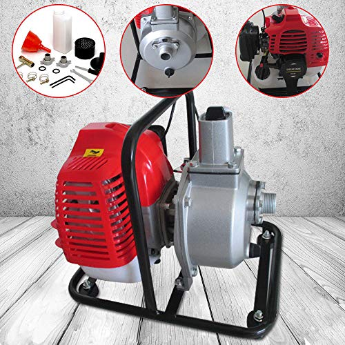 2-stroke Water Pump 1.25kw/7000r/min Single Cylinder Gasoline 30:1 Air-Cooled for Irrigation Pool, Landscaping or Gardening -