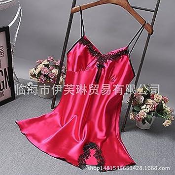 Wanglele Tirantes Vestir Ropa De Cama Simmons Mujer Levantar La Falda De Satén De Seda Con Cuello En V Camisón Batas, C Rojo, M: Amazon.es: Hogar