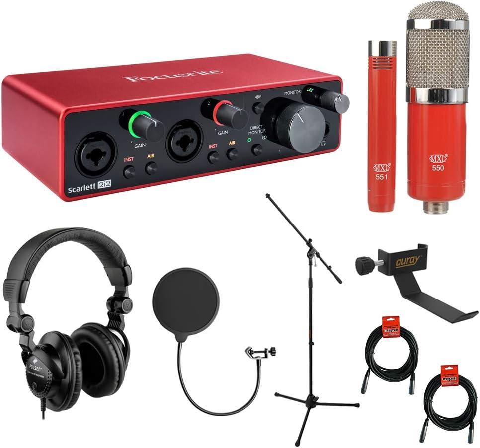 Focusrite Scarlett 2i2 Interfaz de audio USB de 2ª generación con 2 salidas con montaje de micrófono MXL 550/551 (rojo), auriculares, filtro pop, soporte para auriculares, soporte para micrófono y 2 cables