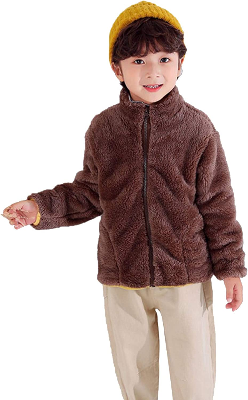 WAOTIER Kinder Pl/üschmantel Baby Warme M/ädchen Jungen Flanell Winter Fleece Jacken Solide Rei/ßverschluss Sweatshirt Dicke M/äntel mit Tasche Weiche doppelseitige Pl/üsch Plus Kaschmir Outwear