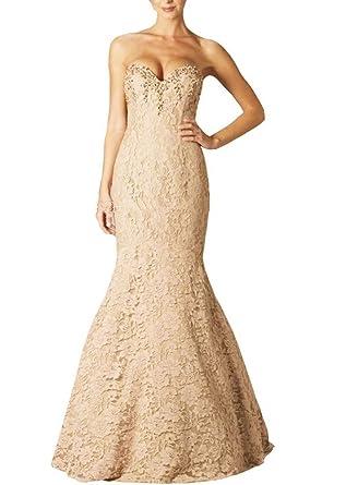 Snow Lotus Womens Champagne Sweetheart Mermaid Long Evening Dresses