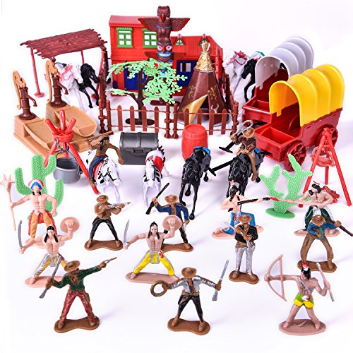 Toy Soldiers Indians Cowboys West, Plastic Figures Play set,Cowboy and Indian action figures, Wild West Cowboys & Indians Plastic Figures Bucket Play set, Boy's War Game Educational Party Toy - 60 pcs