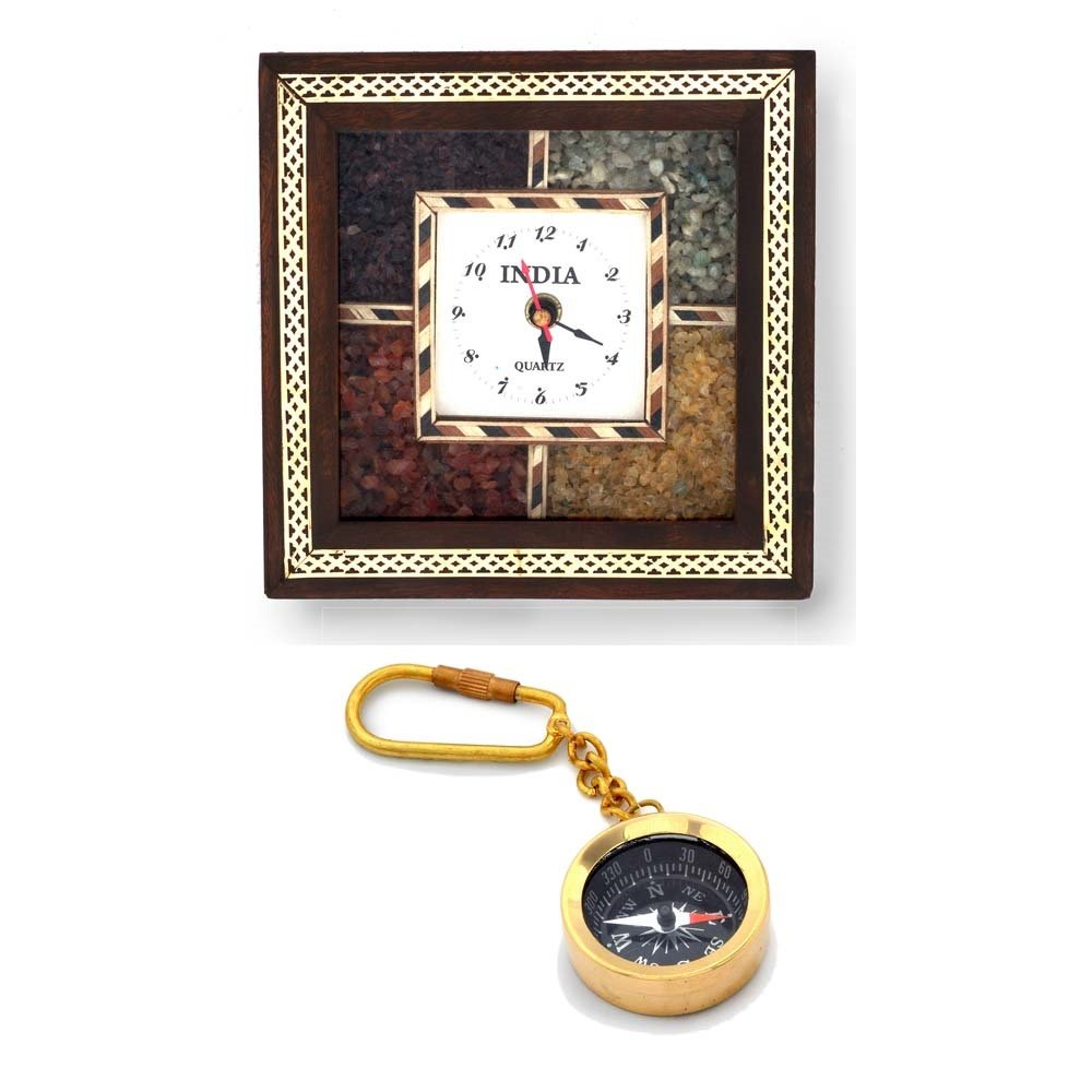 Little India Buy Wooden Wall Clock n Get Compass Keychain Free