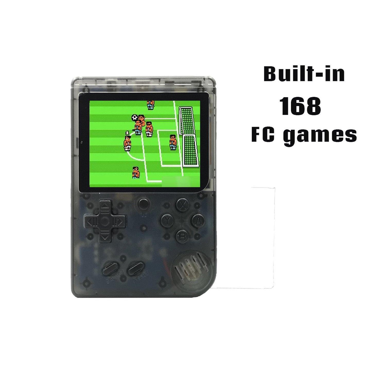 Biospirit Handheld Game Console, 3 inch 168 Classic Games Retro FC Game Console, Birthday Parent for Children - Transparent Black
