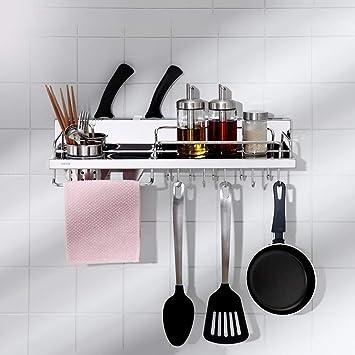 Estante de cocina Cocina casera Colgante De Cocina Acero Inoxidable Multifuncional Almacenamiento De Utensilios De Cocina