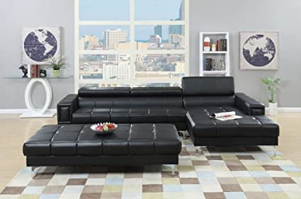 Amazon.com: 3Pcs Modern Contemporary Bonded Leather Sectional Sofa ...