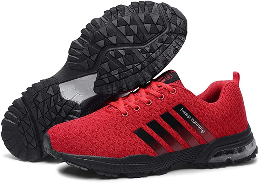 Hommes Femmes Chaussures De Course Pas Cher Baskets Basses Sports Running Fitness Shoes Respirantes Sneaker Mesh Baskets Rouge