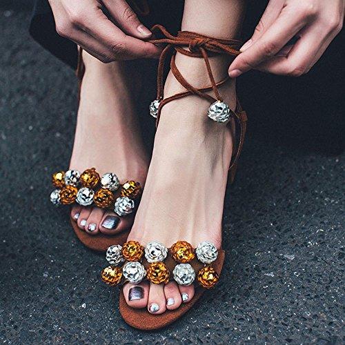 La versión coreana de ásperas sandalias de tacón chica Verano Tacones vendaje Cruz Ol zapatos de trabajo simple vendaje Sexy Marea Zapata Romana Brown