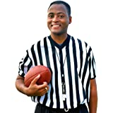 Men's Official Striped Referee/Umpire V-Neck Jersey by Crown Sporting Goods