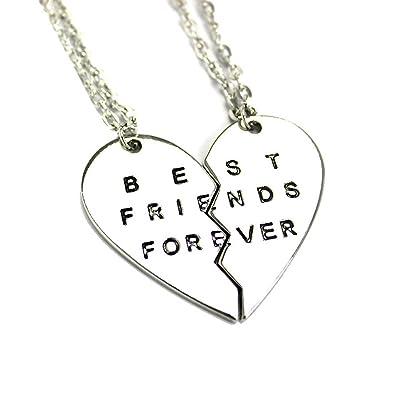 amazon com stainless steel best friends forever bff split heart