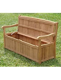 5 Feet Grade A Teak Wood Outdoor Patio Bench With Storage Box  DVSBench