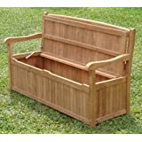 5 Feet Grade A Teak Wood Outdoor Patio Bench With Storage Box  DVSBench