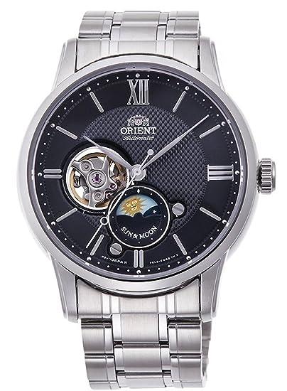 Orient Sun & Moon corazón Abierto automático Reloj de Acero Negro as0002b