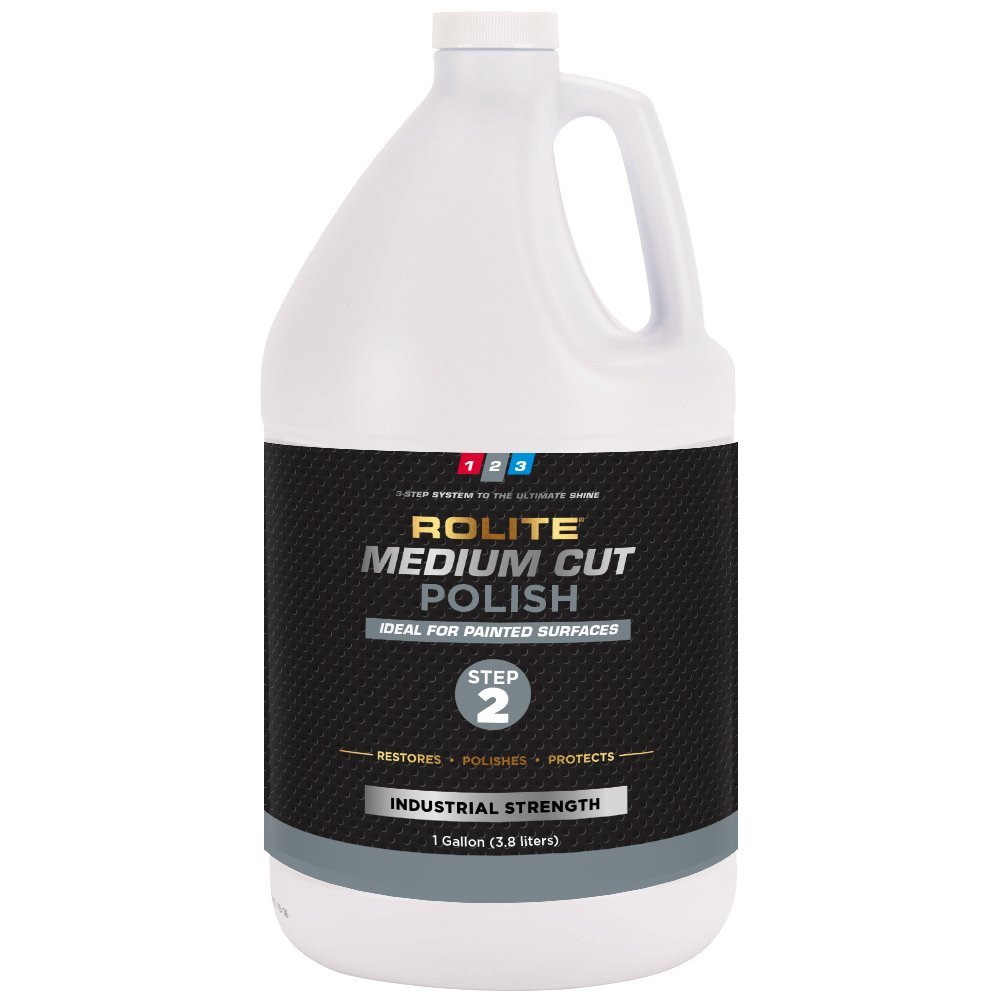 Rolite Medium Cut Polish (1gallon) for Removing Compound Scratch & Swirl Marks for Automotive Clear-Coat Paints, Low Sling, Easy Clean-up