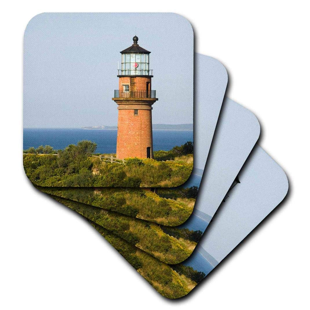 3dRose Marthas Vineyard Aquinnah//Gay Head Lighthouse US22 WBI0279 Walter Bibikow Ceramic Tile Coasters Set of 4