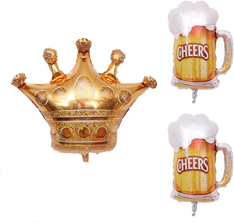 Amosfun Tres Globos de lámina de Aluminio Dibujos Animados de poliéster de película de Helio,una Corona Preciosa y un Vaso de Cerveza,Globos de Fiesta,Adornos.