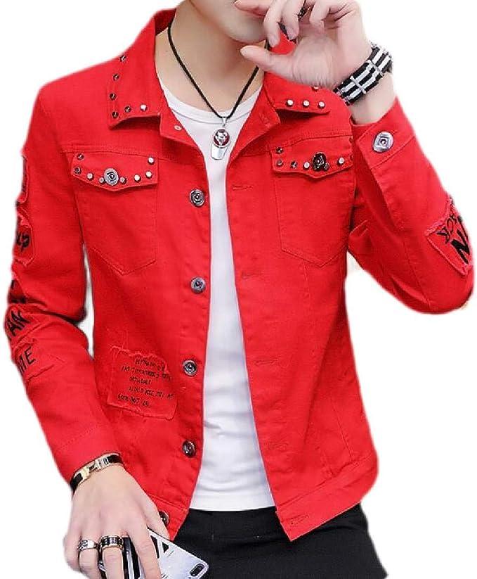 Yeirui Men's Casual Distressed Slim Button Up Rivet Denim Trucker Jacket Outwear