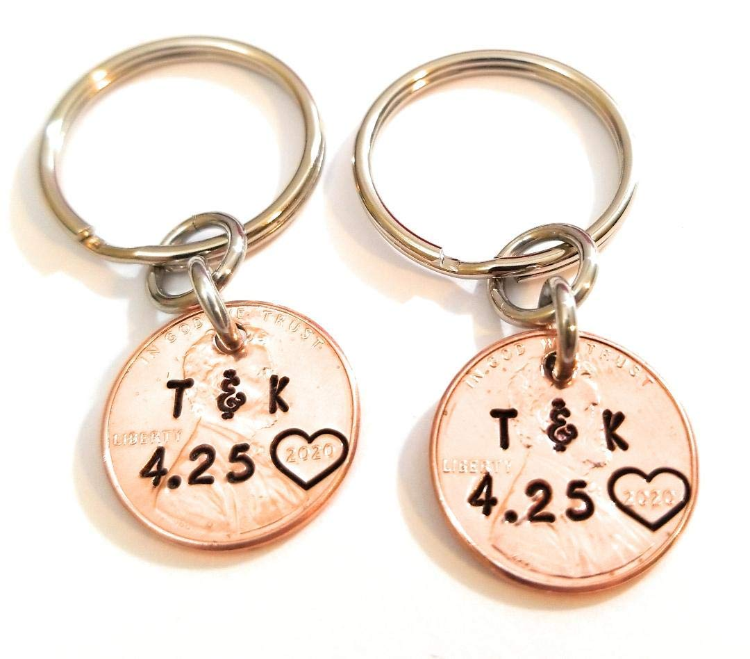 OWL on Branch PERSONALIZED Hand-stamped Penny Key Ring Your Choice of Date 1959 through 2021 style 1