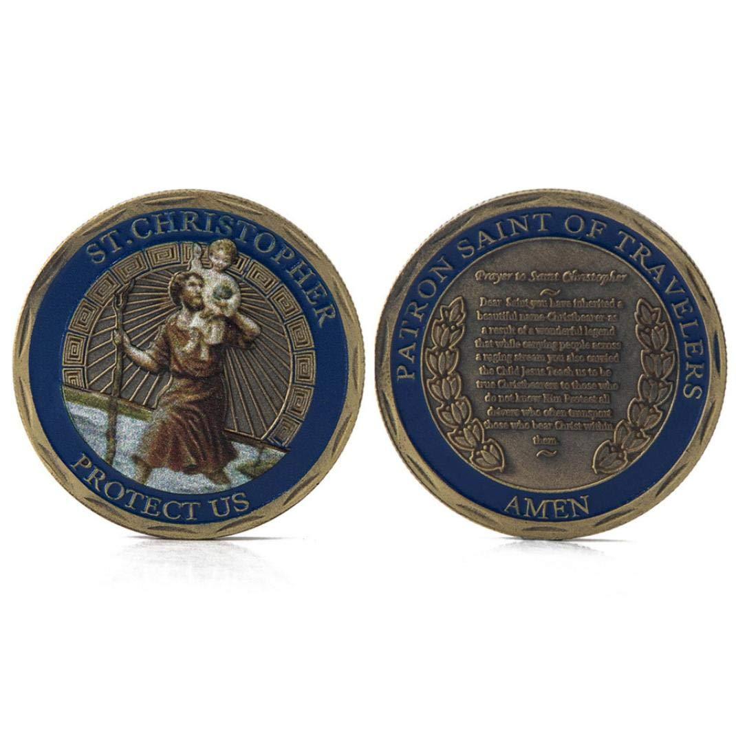 AmaMary Monedas conmemorativas de San Crist/óbal colecci/ón de Arte conmemorativo de San Crist/óbal Colecci/ón f/ísica Coleccionable en Estuche