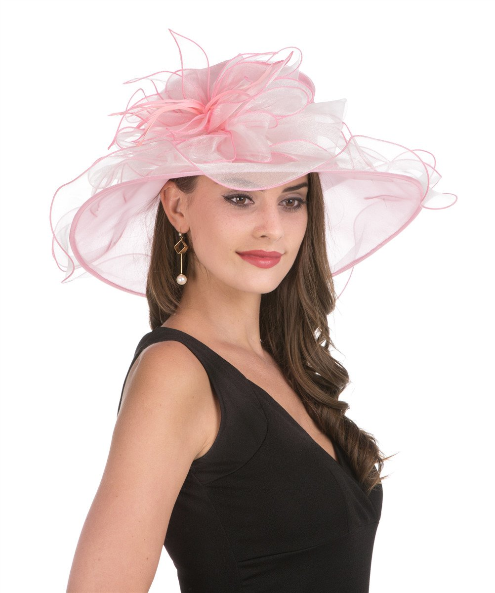 SAFERIN Women's Kentucky Derby Sun Hat Church Cocktail Party Wedding Dress Organza Hat(Pink and Beige Two Tone)