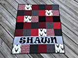 Personalized Buffalo Plaid Red and Black Baby Boy Quilt - Crib Size